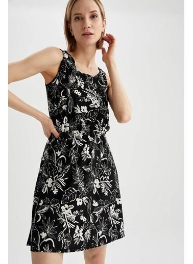 DeFacto Askılı Çiçek Desenli Mini Elbise Siyah